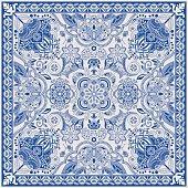 Design for square pocket, shawl, textile. Paisley floral pattern
