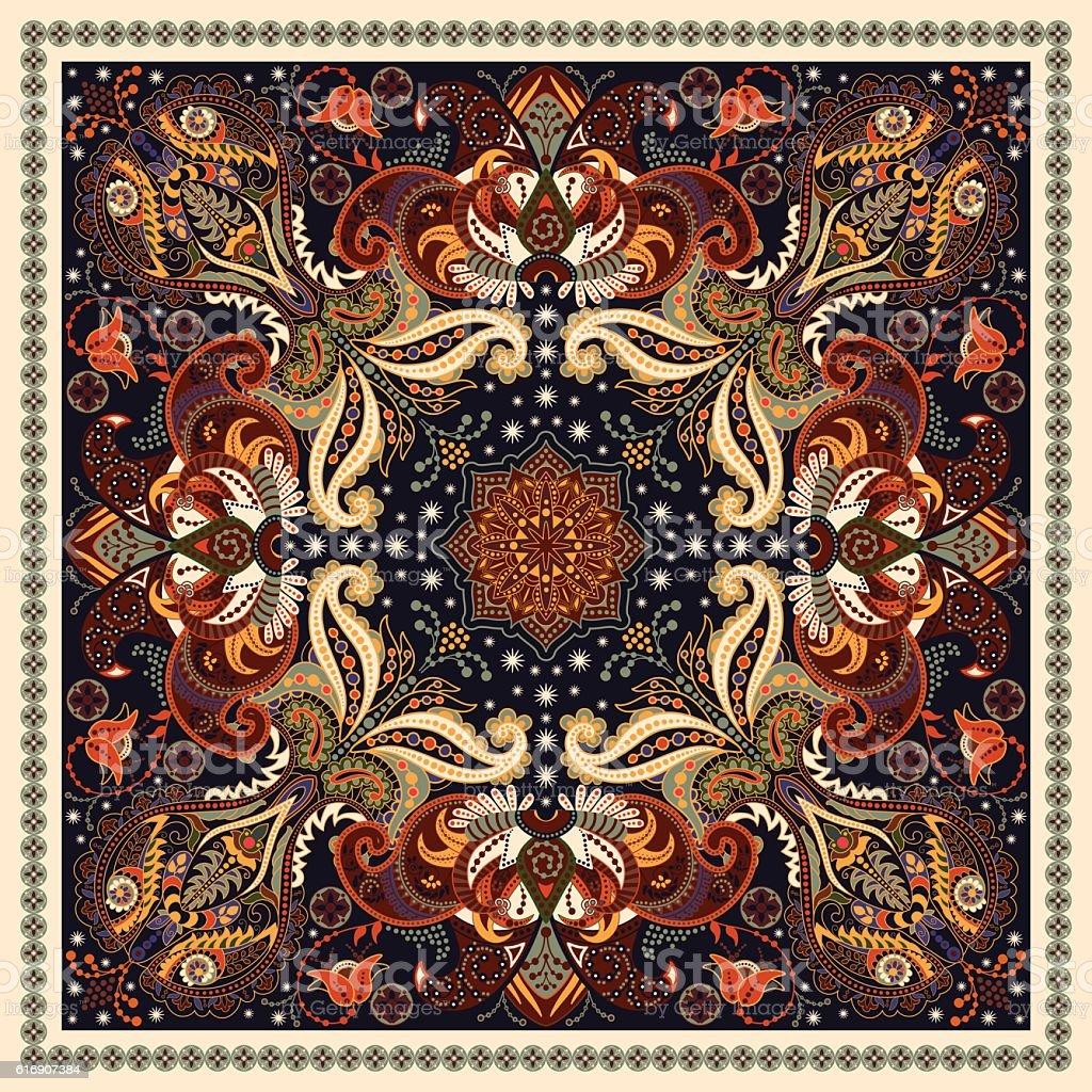 Design for square pocket, shawl, textile. Paisley floral pattern vector art illustration