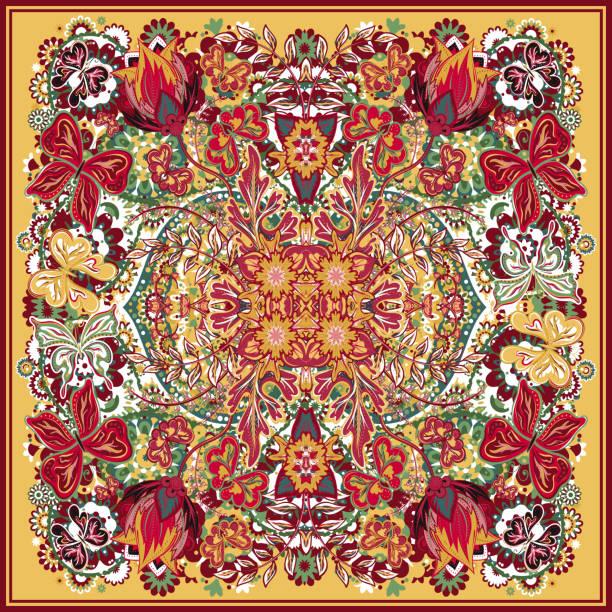 design for square pocket, shawl, textile, scarf, pillow. colorful hand - pashminas stock-grafiken, -clipart, -cartoons und -symbole
