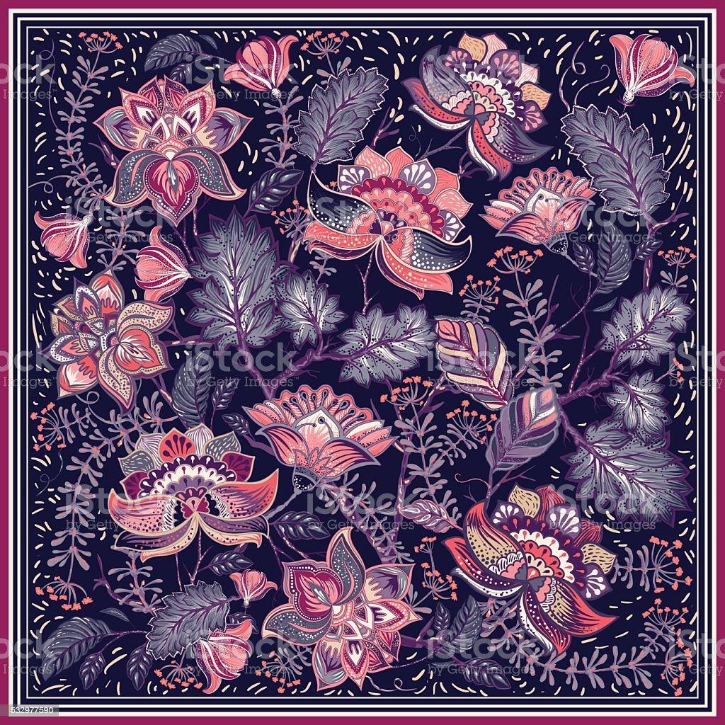 Design for square shawl, textile vector art illustration