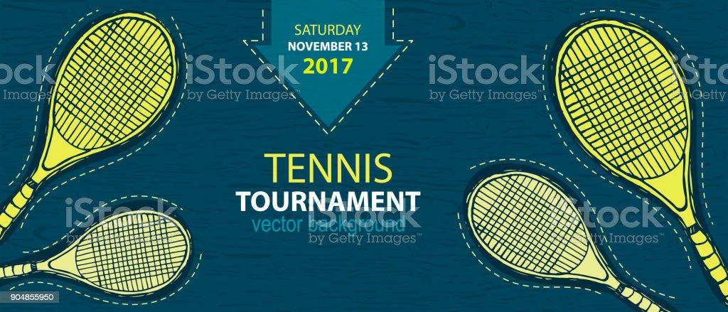Design pour le tennis, raquette d'esquisse. - Illustration vectorielle