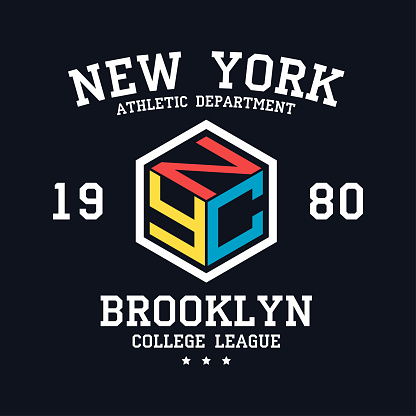 NYC design for t-shirt. New York, Brooklyn typography graphics for tee shirt. College print for apparel. Vector