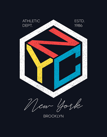 NYC design for t-shirt. New York, Brooklyn typography graphics for tee shirt. Apparel print design. Vector
