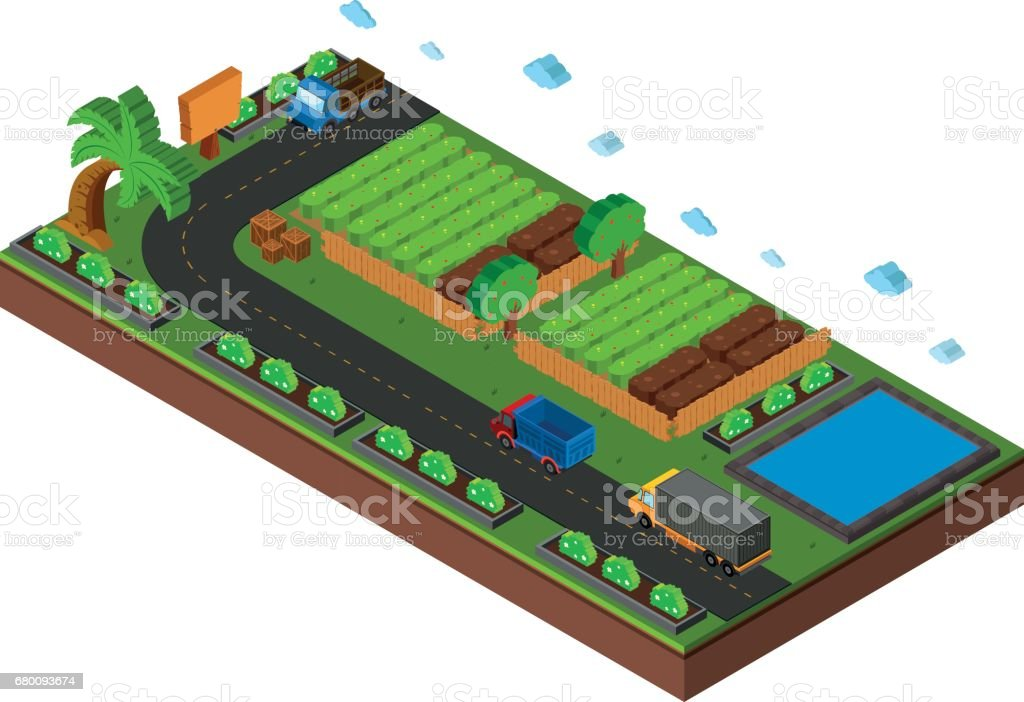 3d Design For Vegetables Growing On Farmland Stock Illustration