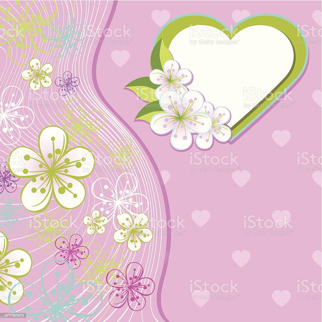 Fur Hochzeit Design Templatespring Blumen Herz Hintergrund Line