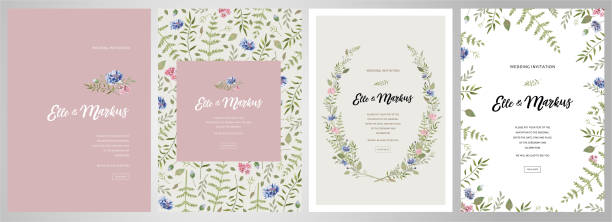 Design greeting card \ wedding invitations, floral frames for your vintage posters and backgrounds with elements of meadow flowers and leaves vector art illustration