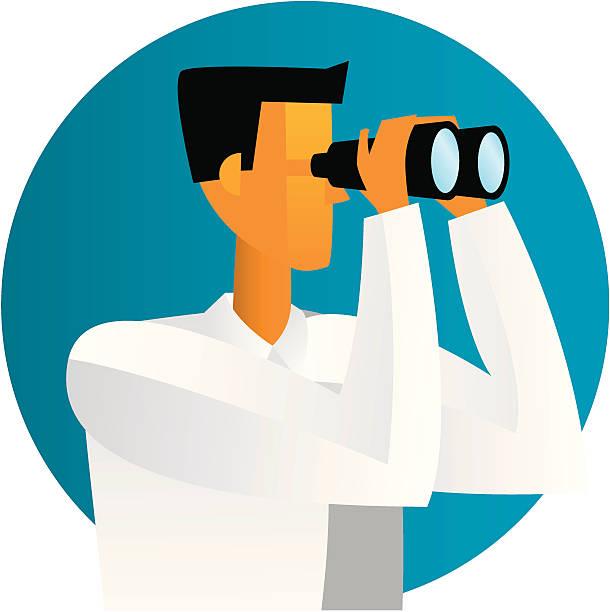 ilustrações, clipart, desenhos animados e ícones de design guy binóculos - observação de pássaros