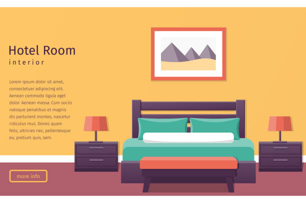 Design hotel room. Vector background. Banner of hotel room interior in flat style. Bedroom design. Background. Vector illustration. hotel stock illustrations