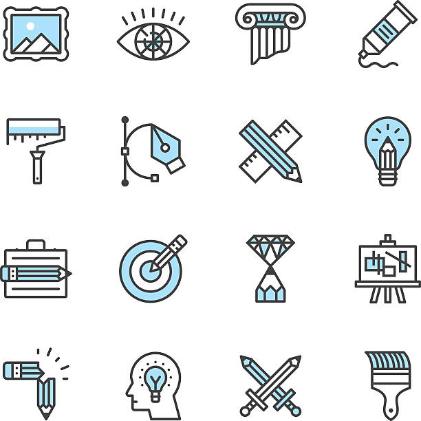 ilustrações, clipart, desenhos animados e ícones de ícones do design - ilustrações de arquitetura