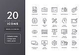Web and graphic design icons. Vector creative and development icon set with editable stroke