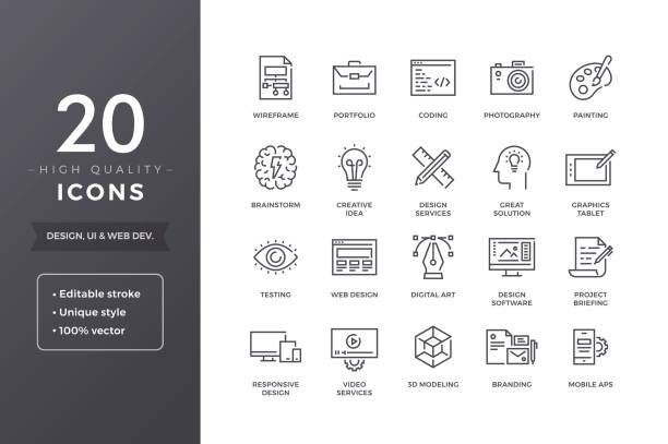 Design Icons Web and graphic design icons. Vector creative and development icon set with editable stroke creative occupation stock illustrations