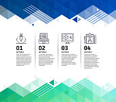 Four step design infographic on colourful, abstract, triangle geometric background.