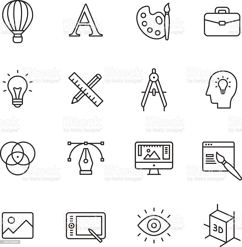 Design Line Icons vector art illustration