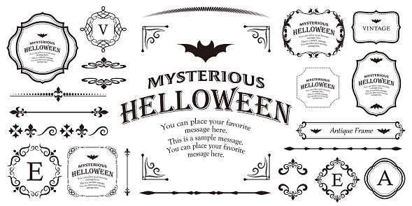 Design material for Halloween. A frame material that can be used for various purposes. Use it for event or party invitations, catalogs and brochures.