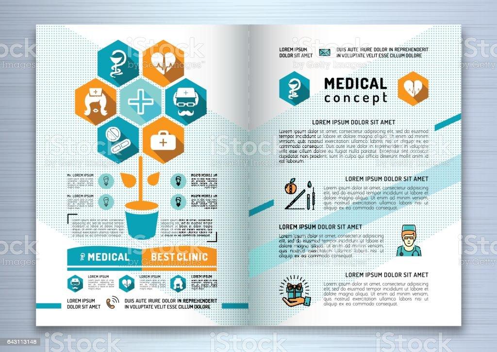 Design medical brochure template A4 size. Linear flat infographics vector art illustration