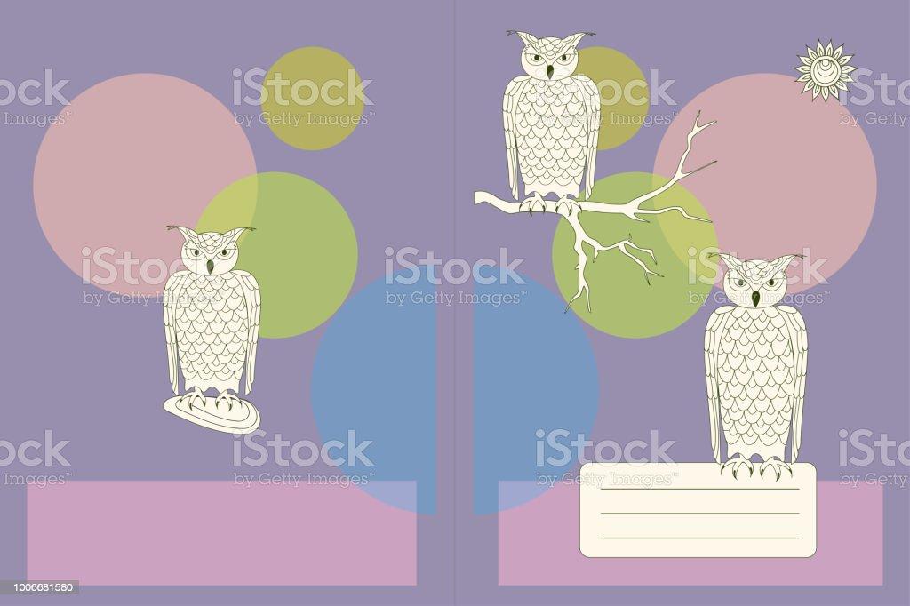 Ilustración De Diseño De Portada De Cuaderno Con Buhos Dibujos