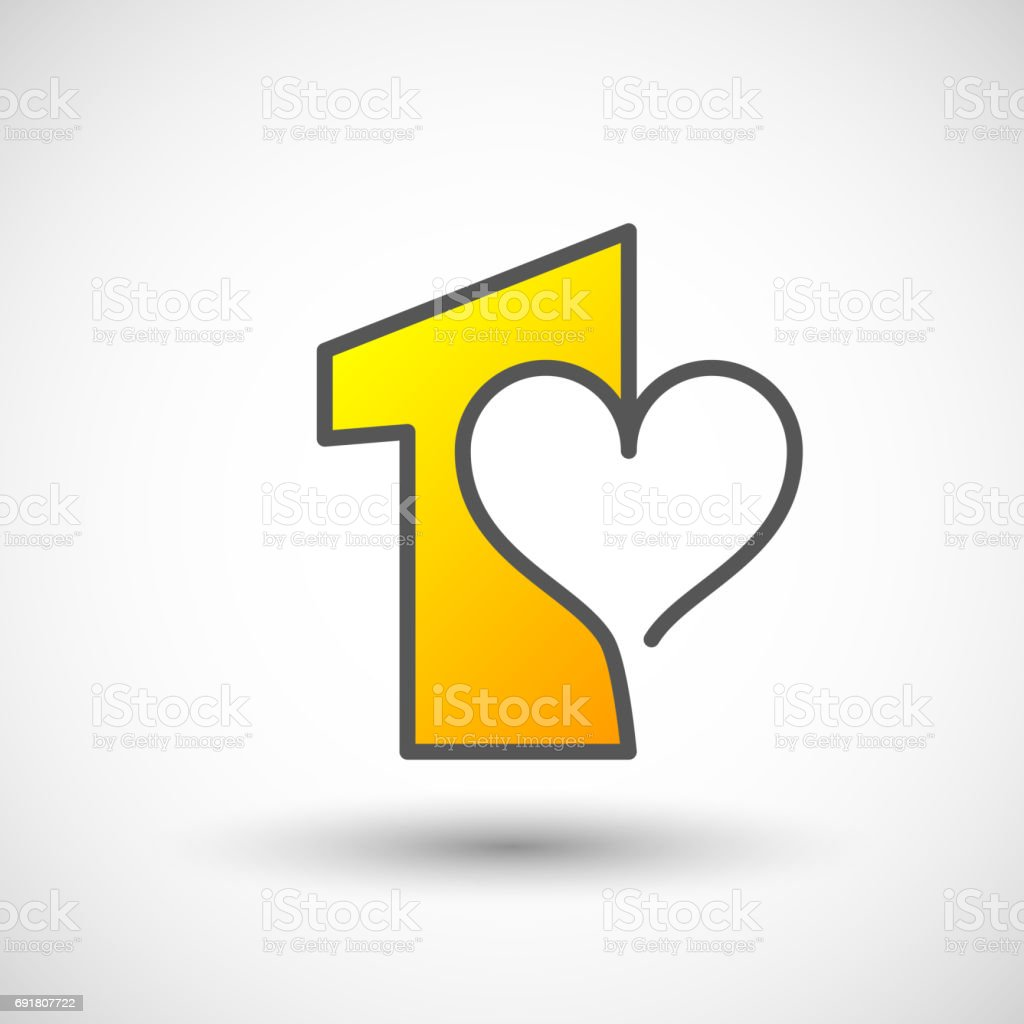 Design Number One with heart First Place vector art illustration