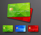 Design of a bank credit (debit) card. Templates with colored polygonal abstract elements. Vector illustration. Set