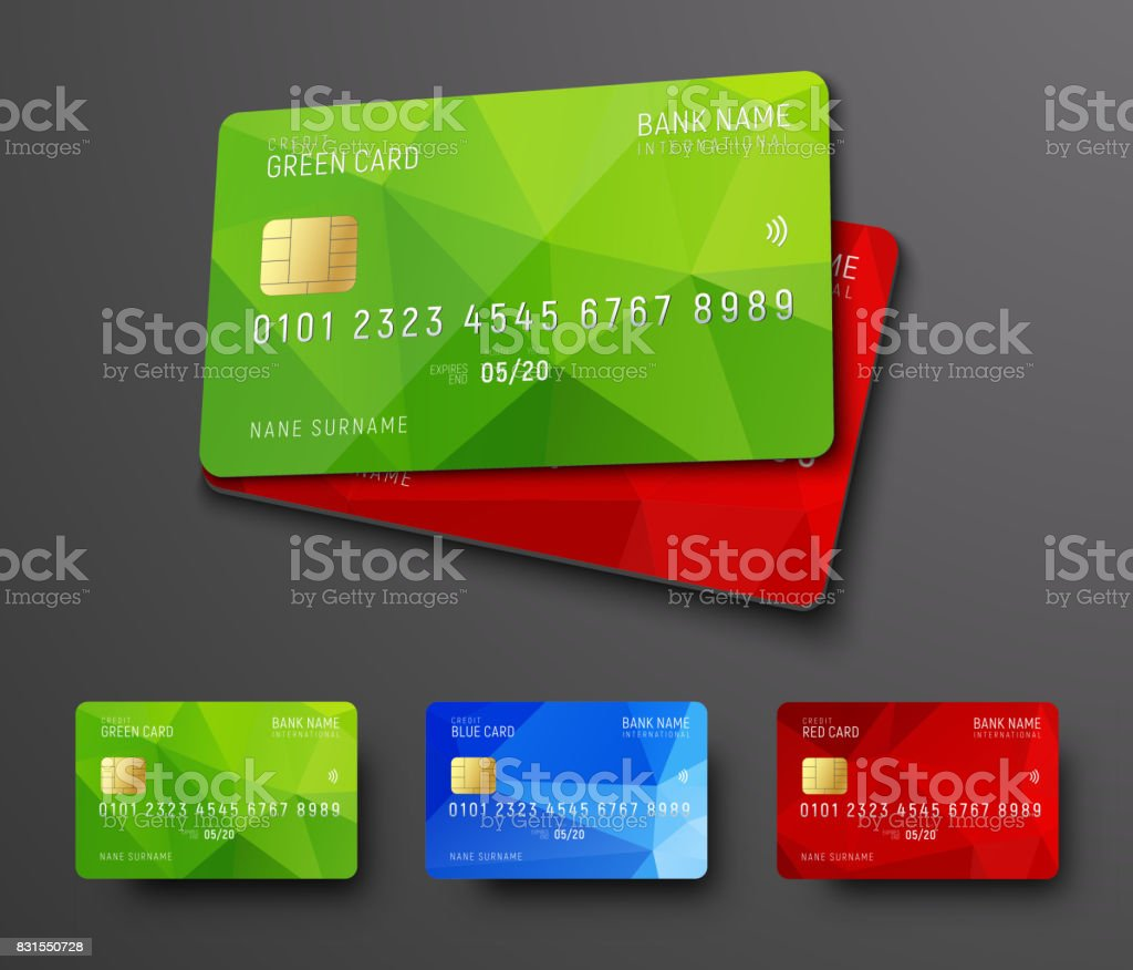 Entwurf einer Bank Kreditkarte (Debit). – Vektorgrafik