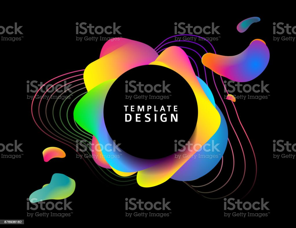 Design of a banner with abstract elements. Round modern banner on a background of blurred splashes with a gradient. Backdrop with colored waves. template for the cover, flyer or advertisement. Vector vector art illustration