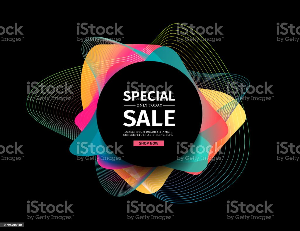 Design of a banner with abstract elements. Round modern banner on a background of blurred splashes with a gradient. Backdrop with colored waves. template for the cover, flyer or advertisement. Vector