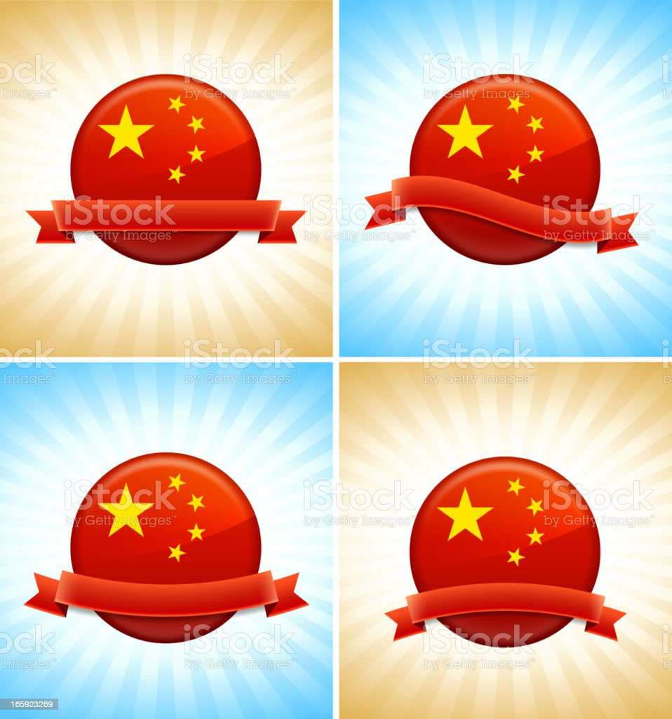 A design of a china flag political buttons royalty-free stock vector art