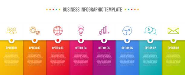 illustrazioni stock, clip art, cartoni animati e icone di tendenza di design of a company timeline with business icons - infographic template. vector - infografiche