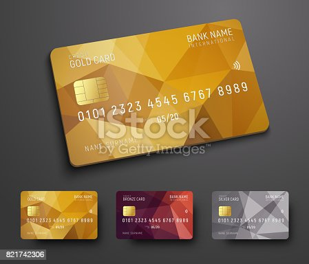 istock Design of a credit (debit) bank card with a gold, bronze and silver polygonal background 821742306
