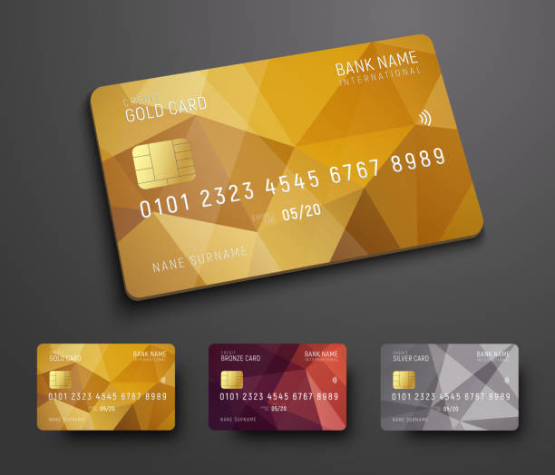 Design of a credit (debit) bank card with a gold, bronze and silver polygonal background Design of a credit (debit) bank card with a gold, bronze and silver polygonal abstract background. Template for presentation. Vector illustration banking silhouettes stock illustrations