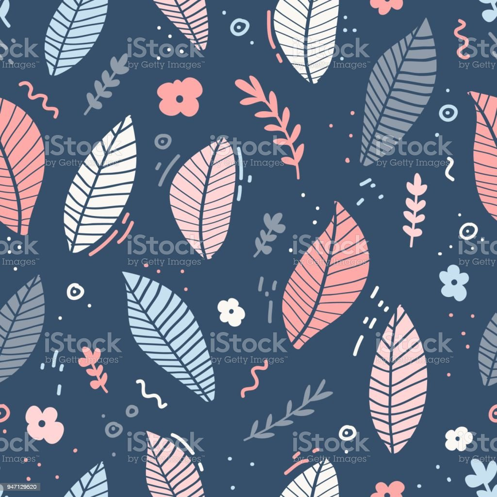 Design Of A Seamless Pattern With A Decor Of Pink Flowers Blue