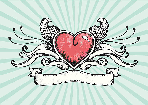 Design of a tattoo heart with wings vector art illustration