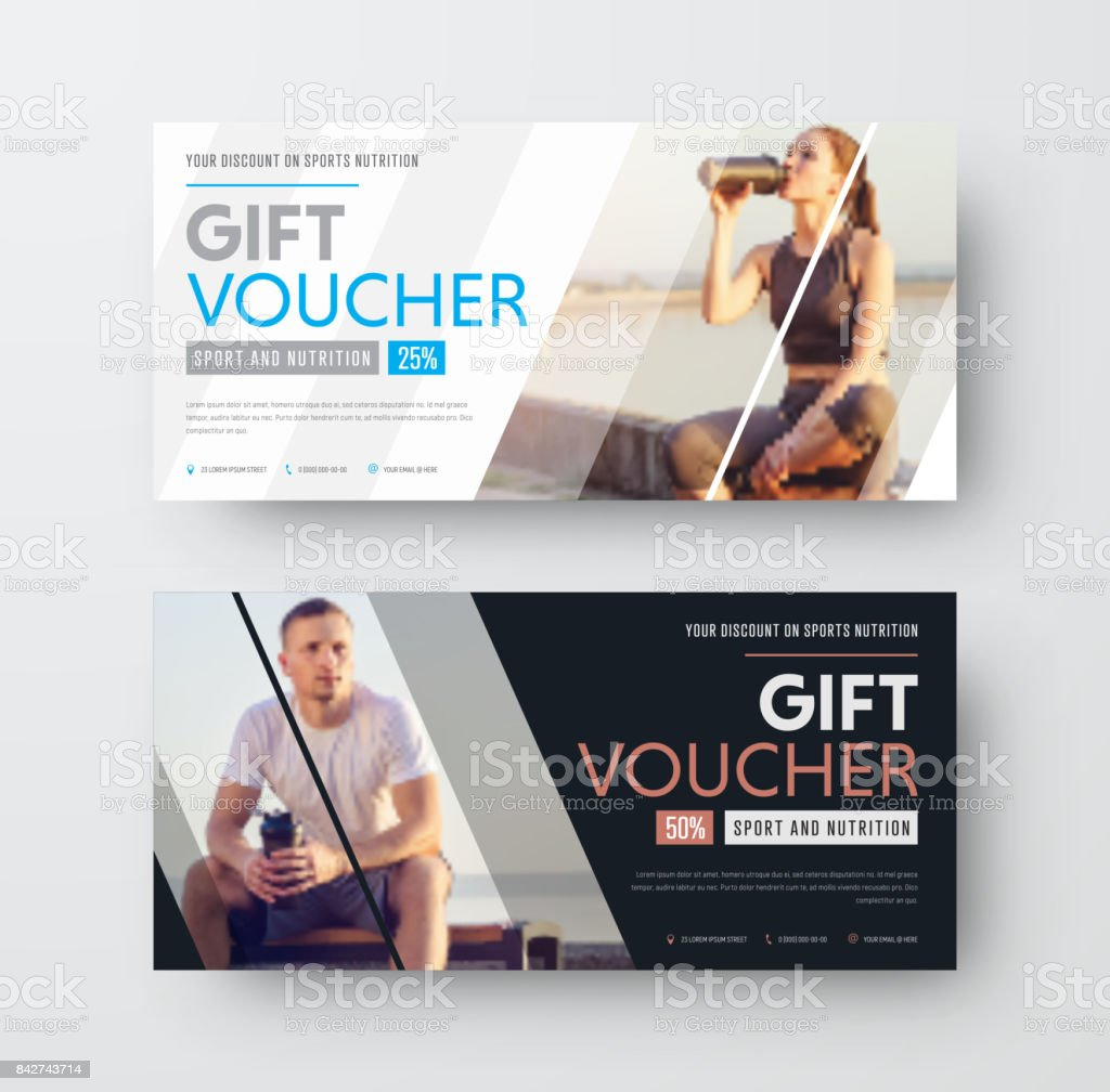Design of a vector gift voucher with diagonal lines and a place for the image vector art illustration