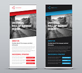Design of a vector roll-up banner with diagonal colored elements and a place for photos