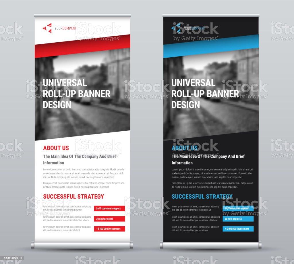 Gestaltung von einem Vektor Rollup-Banner mit farbigen Diagonalelemente und einen Platz für Fotos – Vektorgrafik