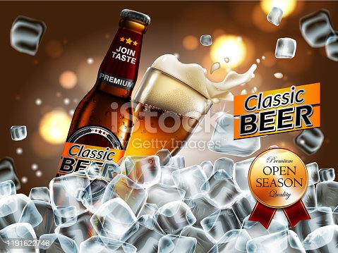 istock Design of advertising beer with  bottle and glass in ice cubes. High detailed delicous illustration. 1191622746