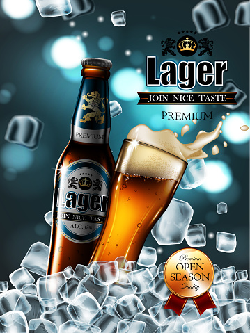 Design of advertising beer with  bottle and glass in ice cubes. . Highly realistic illustration with the effect of transparency