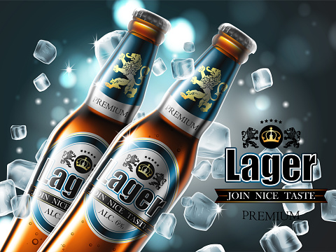 Design of advertising beer with two bottles in ice cubes.