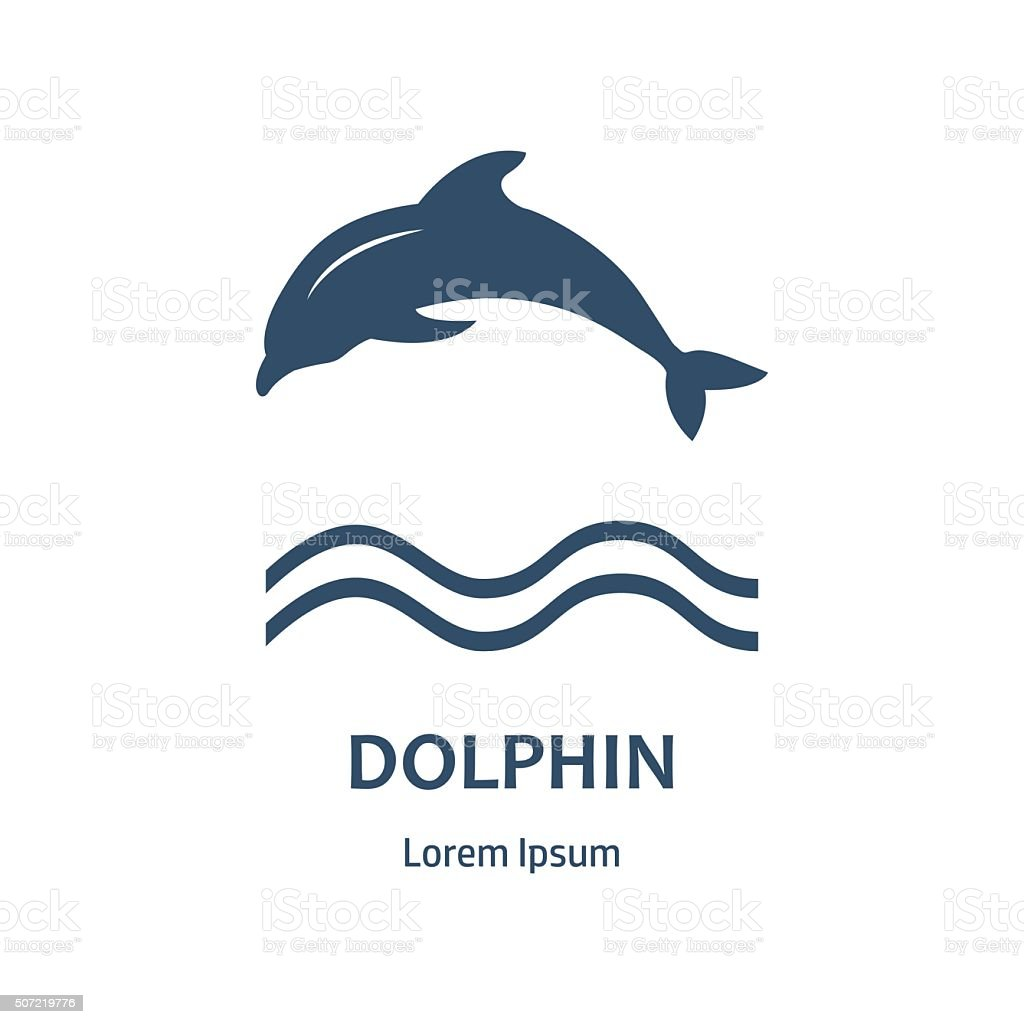 Design of badge with dolphin and label