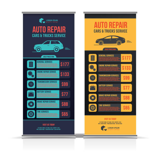 Design of banners. Set of Auto Repair Cars & Trucks Service layout, cars for sale & rent brochure, mockup flyer. Vector illustration. Design of banners. Set of Auto Repair Cars & Trucks Service layout, cars for sale & rent brochure, mockup flyer. Vector illustration. automobile industry stock illustrations