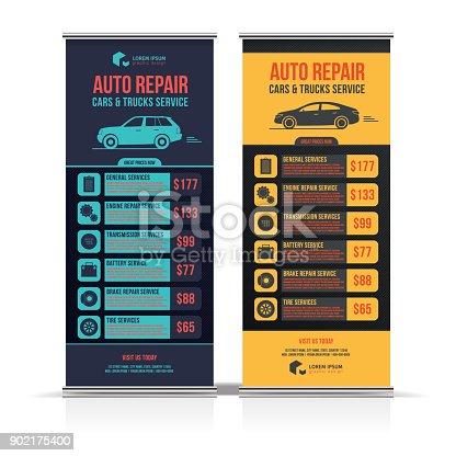 Gestaltung Von Bannern Satz Von Auto Autos Lkw Reparaturservice ...