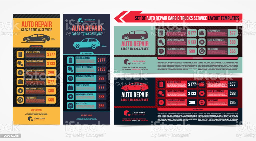 Design Of Banners Set Of Auto Repair Cars Trucks Service Layout Cars ...