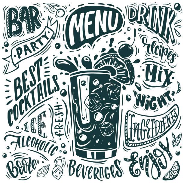 바 메뉴의 디자인 - bartender stock illustrations