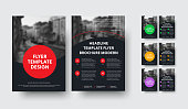 Design of black a4 vector flyers with round elements and space for photo. Template front and back pages for business and advertising. Set