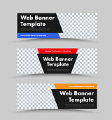 Design of black vector horizontal web banners with photo space and color corner shapes for header and text. Universal template for advertising. Set