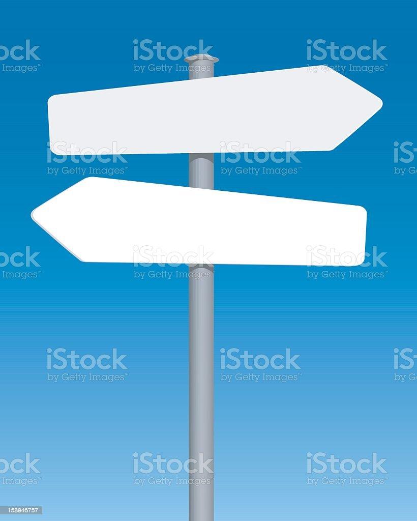 Design of blank road sign with blue background vector art illustration