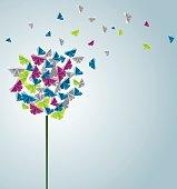 Design of butterflies forming a flower