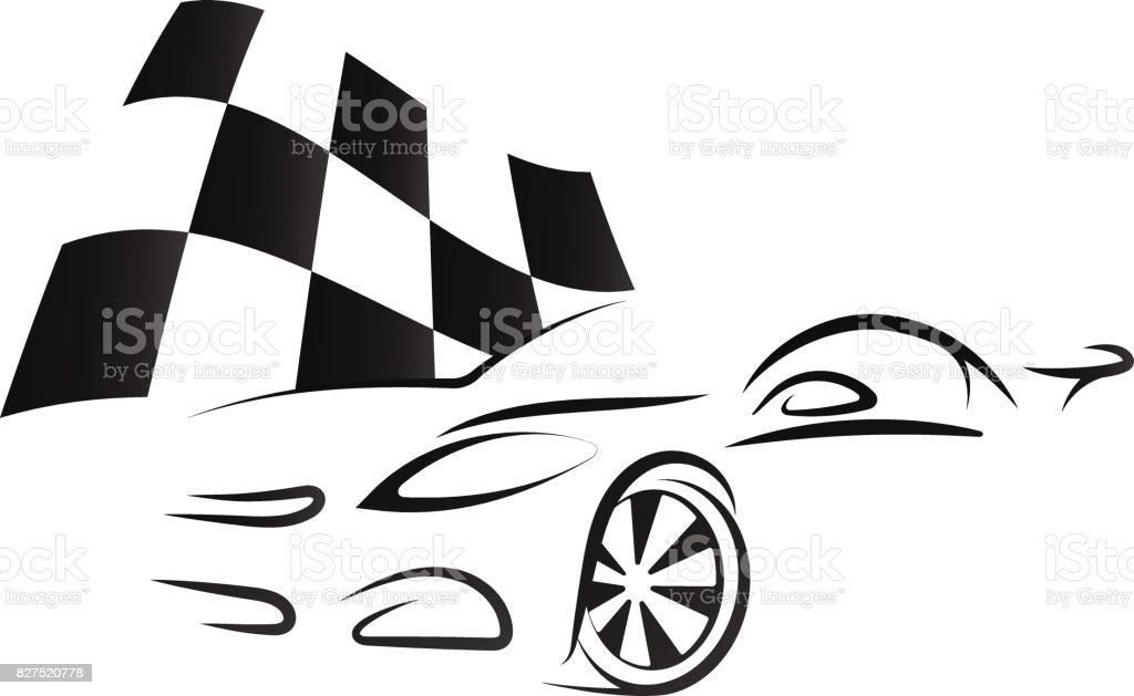 royalty free stock car racing clip art vector images Car Detailing Clip Art design of car and checkered flag vector art illustration