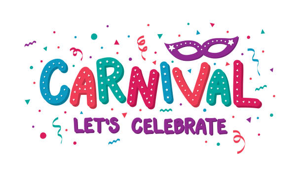design of carnival banner with mask and confetti. vector - mardi gras cartoons stock illustrations, clip art, cartoons, & icons
