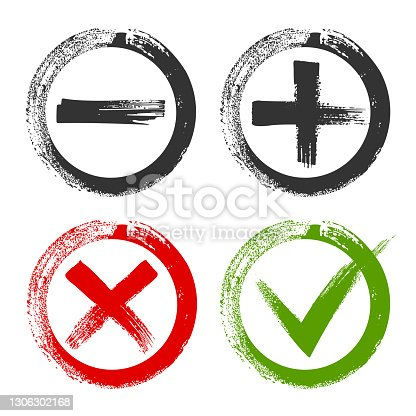 istock Design of check list marks, choice options, test, quiz or survey signs. Circles with black plus and minus, red x and green tick check marks. Approval signs. 1306302168