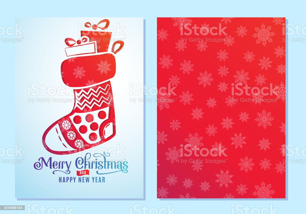 Lovely Design Of Christmas And New Year Greeting Cards On Both Sides With A  Christmas Sock.